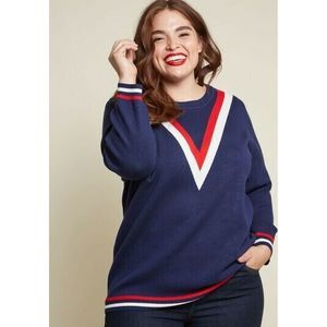 Modcloth Well Prepped Sweater Red White Blue L